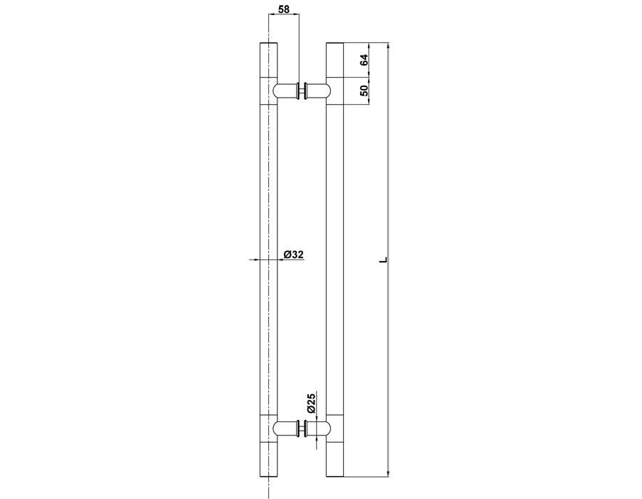 T-010 32х625х800 Прозрачная+SSS Ручка комплект