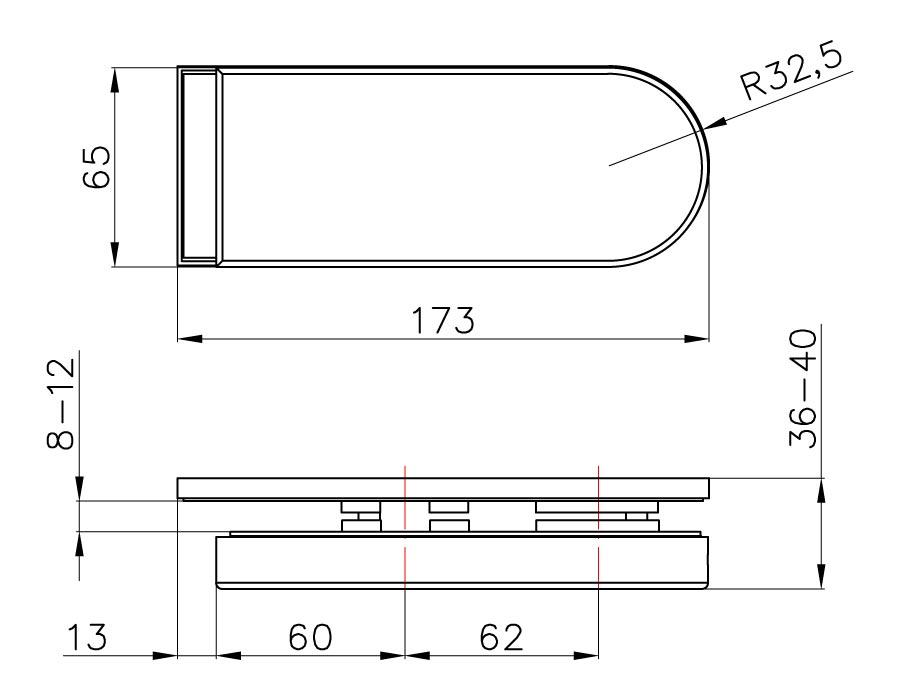 TI-86-2B AL  Ответная часть на стекло