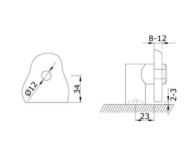 TB-752 PSS Коннектор стекло-пол/потолок/стена