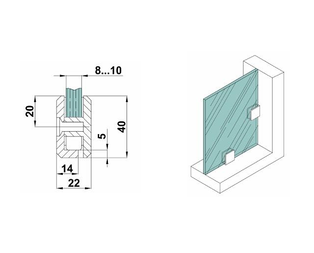 T-701 SC Коннектор стена - стекло