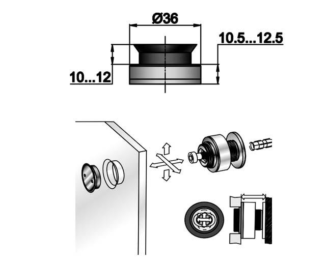 TT-503 SSS Точечное крепление регулируемое 10,5-12,5mm