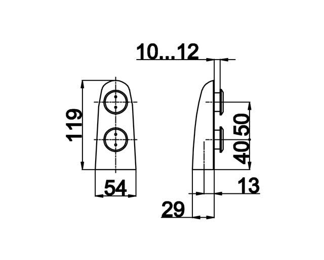 TB-510 SSS Петля нижняя под зенковку